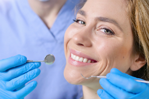 Woman Happy with New Dentist